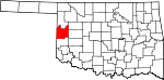State map highlighting Roger Mills County