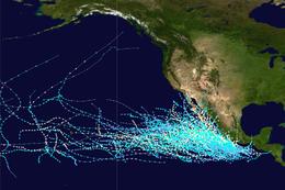 Mapa que traza la trayectoria de todos los huracanes conocidos de Categoría 1 del Pacífico desde 1949 hasta 2018 en las cuencas del Pacífico central y oriental según la escala Saffir-Simpson