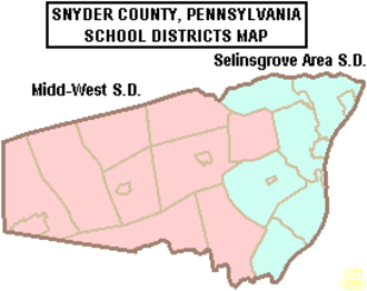 Adams Township, Snyder County, Pennsylvania - Map showing Snyder County, Pennsylvania public school districts shows Midd-West School District in pink