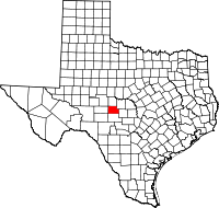 Kart over Texas med Menard County uthevet