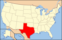 Map of the U.S. highlighting Texas