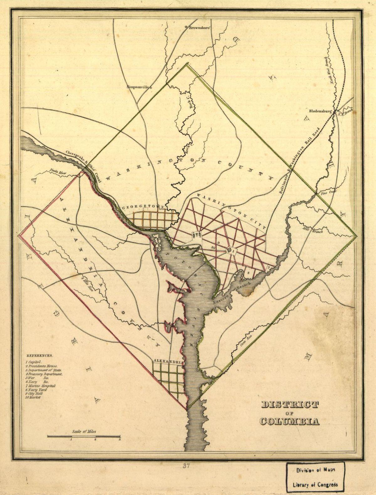 Washington County DC Wikipedia - Washington dc pop up map