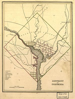 Washington County, D.C. - Map of Washington and Alexandria County in the District of Columbia, prior to retrocession