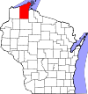 State map highlighting Bayfield County