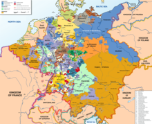 Map of the Holy Roman Empire, with the many states in different colors.