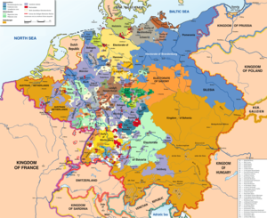 Imperial immediacy - The Holy Roman Empire in 1789. Each of these states (different colours) on the map had a specific set of legal rights that governed its social, economic, and juridical relationships between the state and the emperor, and among the states themselves.