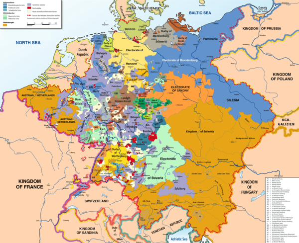 Map of the Holy Roman Empire in 1789. The map is dominated by the Habsburg Monarchy (orange) and the Kingdom of Prussia (blue), besides a large number of small states (many of them too small to be shown on the map).