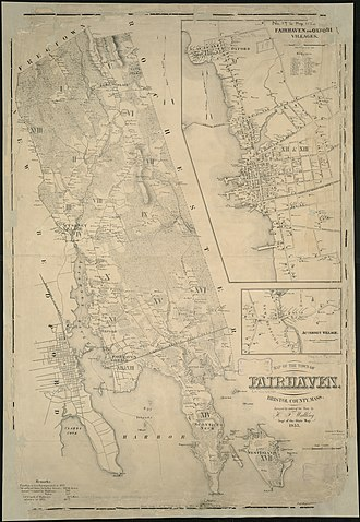Harbor Defenses of New Bedford - Map of Fairhaven with part of New Bedford, showing Clark's Point in the lower left.