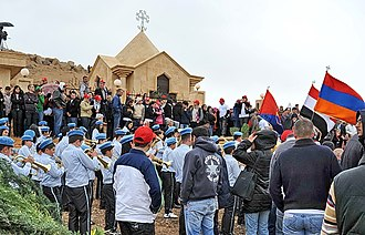 Armenian Genocide recognition - Pilgrims commemorating the 94th anniversary of the Genocide in Margadeh, near Deir ez-Zor in Syria