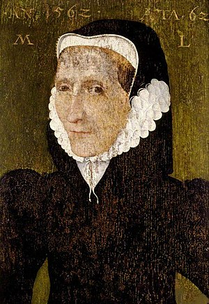 Feudal barony of Dunster - 1562 portrait of Margaret Luttrell (1500–1580) aged 62, collection of National Trust, Dunster Castle