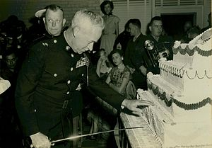 Merwin H. Silverthorn - Commanding general of the MCRD Parris Island, Major General Silverthorn cuts the Marine Corps Birthday Cake in 1953.