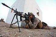 Marine with a M249 equiped with rifle grenade and magazine