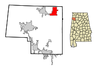 Marion County Alabama Incorporated and Unincorporated areas Bear Creek Highlighted.svg