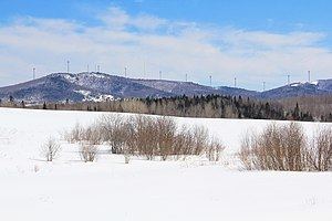 Mars Hill (Maine) - Mars Hill in late winter as seen from US Highway 1