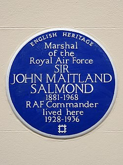 Marshal of the royal air force sir john maitland salmond 1881 1968 raf commander lived here 1928 1936