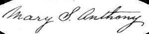 Mary Stafford Anthony - Image: Mary S. Anthony Signature