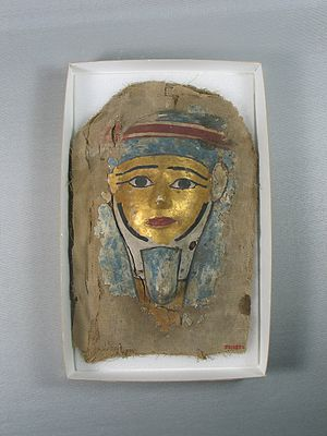 Ancient Egyptian funerary practices - Mask from a coffin. Cartonnage, 37.1387E, Brooklyn Museum