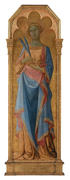 St Victor of Siena (left) and St Corona (above) by the Master of the Palazzo Venezia Madonna (Statens Museum for Kunst, Copenhagen DK). Master of Palazzo Venezia Madonna - St. Corona - Google Art Project.jpg