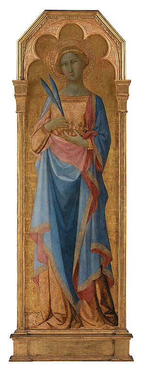 Victor and Corona - St Victor of Siena (left) and St Corona (above) by the Master of the Palazzo Venezia Madonna (Statens Museum for Kunst, Copenhagen DK).