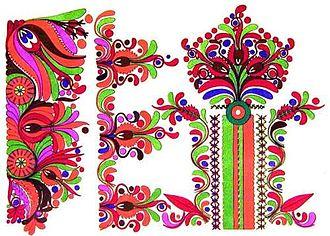 Matyó - Matyó szűr (a traditional garment) embroidery
