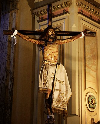 1647 Santiago earthquake - Crucifix of Cristo de Mayo, conserved in the church since 1612.