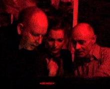 Alan McGee, Kate Moss, and BP Fallon DJing at Death Disco NY in 2004