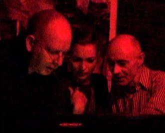 Kate Moss - Alan McGee, Kate Moss, and BP Fallon DJing at Death Disco NY in 2004