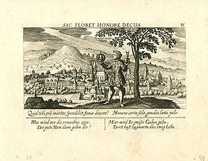 Neustadt an der Weinstraße - Neustad an der Hard, a copperplate from Daniel Meisner's Schatzkästlein, 1624