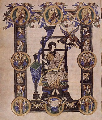 Anglo-Saxon art - Evangelist portrait from the Grimbald Gospels, early 11th century, in the late Winchester style.