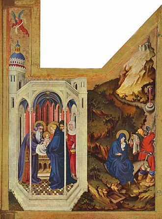 Melchior Broederlam - The right panel: Presentation of Jesus and the Flight into Egypt. Each panel, including the frame, is 167cm high and 125cm wide.