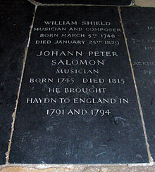 Memorial in south cloister of Westminster Abbey (Source: Wikimedia)
