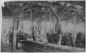 Men standing in lumber yard. Ozark Lumber Co. ...