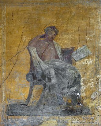 Menander - Seated portrait of Menander, Roman fresco from the Casa del Menandro in Pompeii