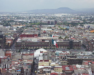 Cuauhtémoc, Mexico City - View of the Zocalo area looking east from the Torre Latinoamericana