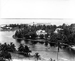 Miami River (Florida) - The mouth of the Miami River at Brickell Point  (August 1935).