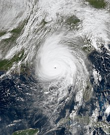 Visible satellite imagery of an exceptionally powerful and well-defined Hurricane Michael shortly before making landfall in Florida on October 10.