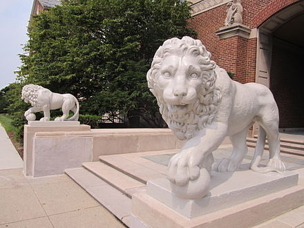 Mick and Mack, Medici lions at McMicken Hall Mick & Mack.jpg