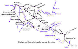 Hope Valley line - Sketch map of Midland Railway lines into Manchester