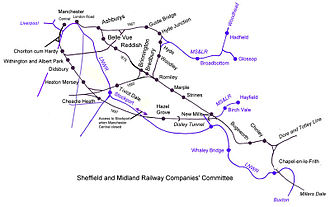 Manchester, Buxton, Matlock and Midland Junction Railway - The various routes followed by the Midland into Manchester