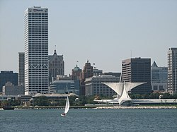 Milwaukee seen from Lake Michigan. The US Bank Center is on the left, and the Milwaukee Art Museum is on the lower right.