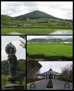 From top:Mount Ōno, statue of Buddha at Shimizu-iwaya Park, tea plantation, Chiran-Tokkō Heiwa Hall