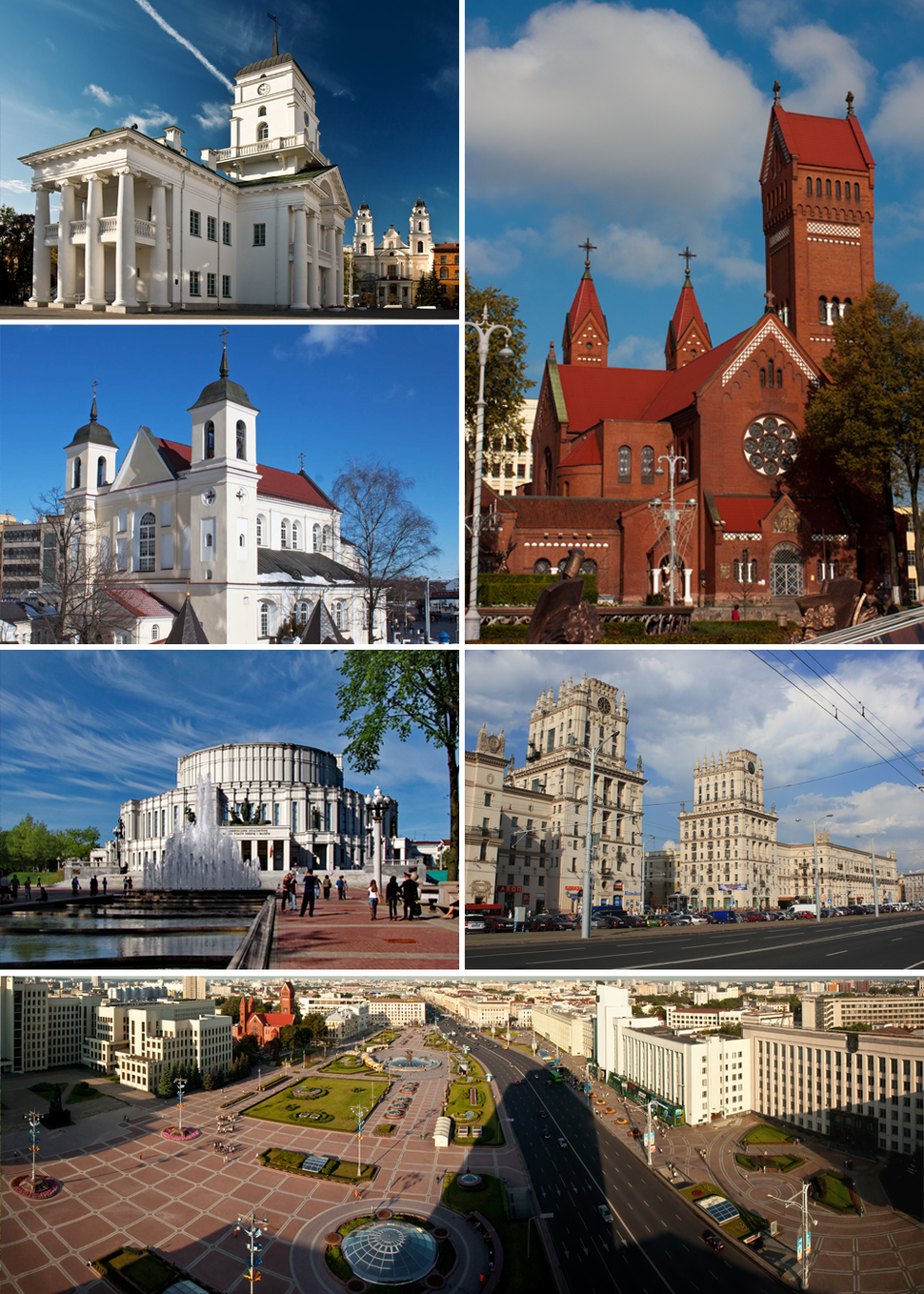 Clockwise from top left: Minsk City Hall, the Red Church, Railway Station Square, Independence Square, National Opera and Ballet Theatre and the Church of Sts. Peter and Paul.