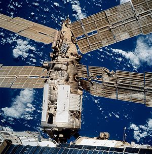 Shuttle–Mir Program - Picture of the damage caused by the collision with Progress M-34, taken by Atlantis during STS-86