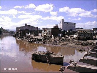 Honduras - Part of the massive damage caused by Hurricane Mitch in Tegucigalpa, 1998