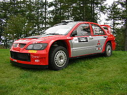 A Mitsubishi Lancer WRC04.