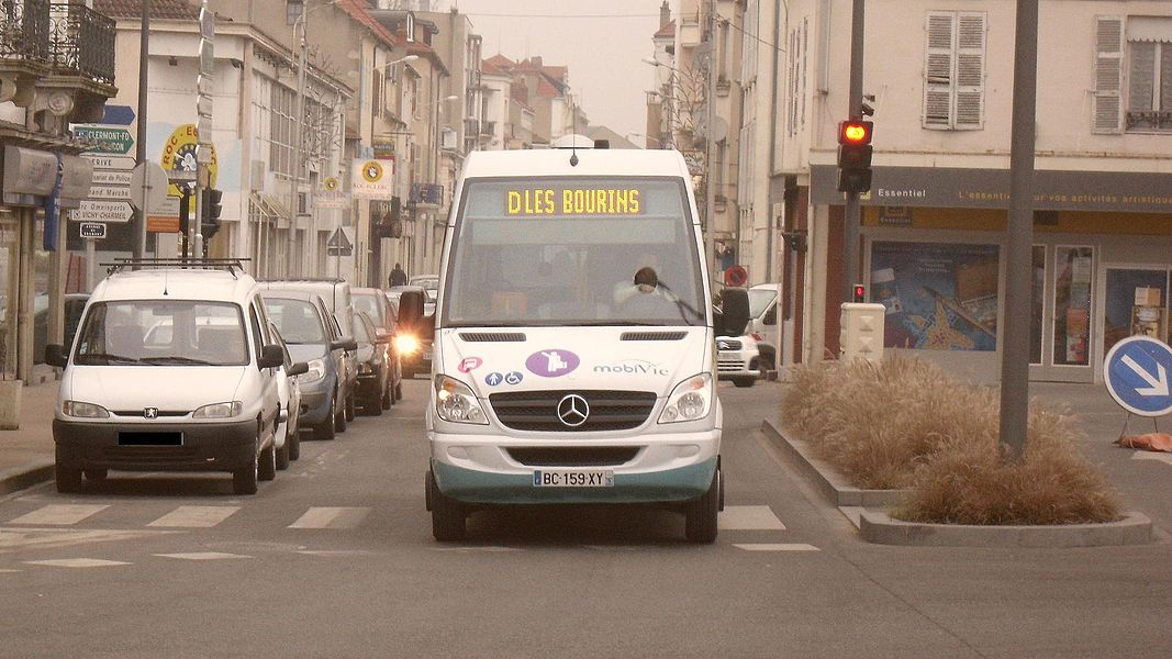 Mercedes-Benz Sprinter City 65 minibus (#97, reg. BC 159 XY) in Vichy, France. MobiVie from Vichy operator.