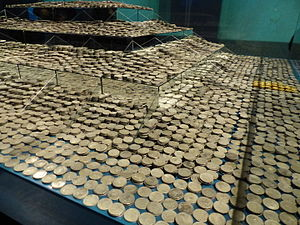 Black Swan Project - Sample of coins from the Mercedes treasure displayed at a Spanish museum in 2015.