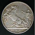 Moneta del Regno d'Italia da 10 lire 'Biga' del 1927 - verso.jpg