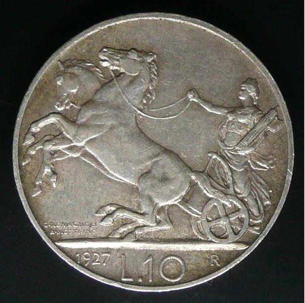 File:Moneta del Regno d'Italia da 10 lire 'Biga' del 1927 - verso.jpg