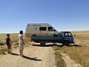 Mongol Rally - Improvised recovery of an ambulance during the 2010 rally